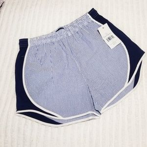 NWT Lauren James Seersucker Shorties Navy Large
